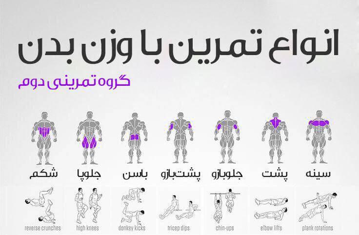 انواع تمرین با وزن بدن